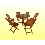 ေသသပ္လွပသည့့္ ကြ်န္းျဖင့္ျပဳလုပ္ထားသည့္ ကြ်န္း စားပြဲဝိုင္းနွင့္ ေခါက္ ကုလားထိုင္ ( Teak Round Table with Folding Chair )
