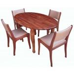 Pyinkado Oval Table & Dining Chair OVT-15090-2PKD,AC-21-HW (၄ေယာက္ထိုင္ ထမင္းစားပြဲ)
